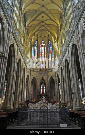 Nave St Vitus cathedral, Prague, Bohemia, Czech Republic - Stock Photo