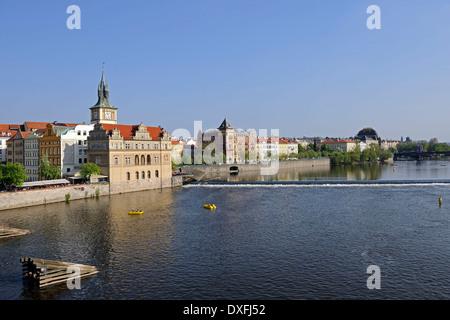 View from Charles Bridge over Vltava River, Old Town, Prague, Bohemia, Czech Republic - Stock Photo