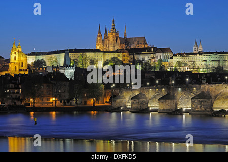 View over Vltava river, to Charles Bridge and St Vitus Cathedral, Prague, Bohemia, Czech Republic - Stock Photo