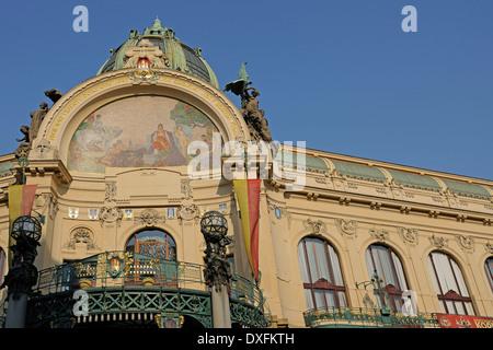 Municipal House, Obecni Dum building, Prague, Bohemia, Czech Republic - Stock Photo