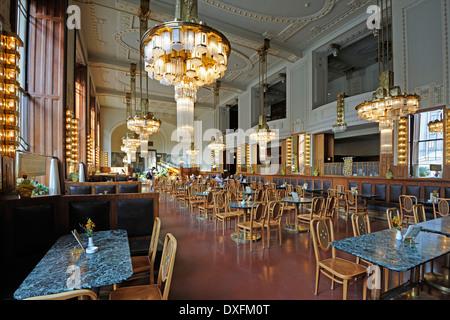 Cafe, Art Nouveau style, Municipal House, Obecni Dum, Prague, Bohemia, Czech Republic - Stock Photo