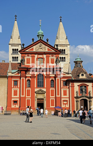 St George's Basilica, Prague Castle, Prague, Bohemia, Czech Republic - Stock Photo