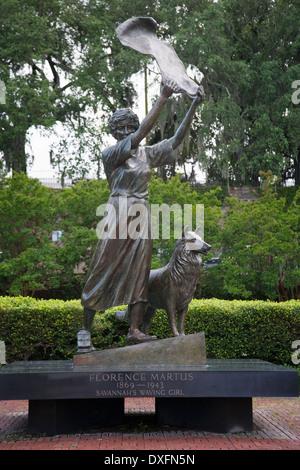 Savannah's Waving Girl Statue by Florence Martus in Georgia. - Stock Photo