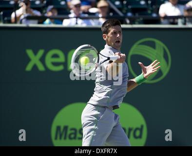 Key Biscayne, Florida, USA. 25th Mar, 2014. Key Biscayne - March 25: Novak Djokovic (SRB) in action here defeats - Stock Photo