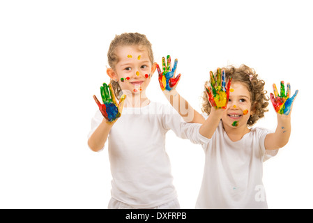 Two girls showing colorful hands isolated on white background