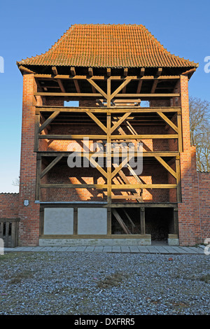 Watch tower at the city walls, old town, Hanseatic City of Stralsund, Mecklenburg-Western Pomerania, Germany - Stock Photo