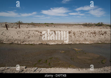 Mecca, California, USA. 21st Mar, 2014. A canal for irrigation runoff moves toward the Salton Sea in Imperial County, - Stock Photo
