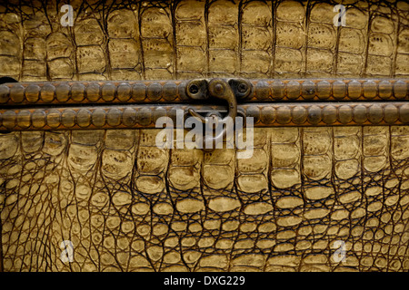 An old suitcase made of Crocodile - Stock Photo