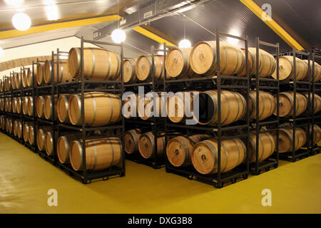 Red Wine Maturing In Oak Barrels - Stock Photo