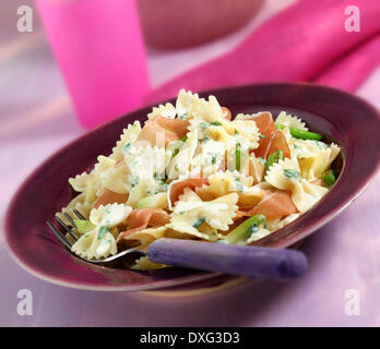 Plate Of Homemade Farfalle With Ham And Onion - Stock Photo