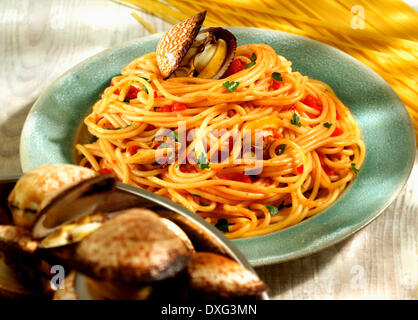 Plate Of Homemade Spaghetti With Clams - Stock Photo