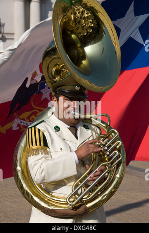 Tuba player in Presidential Band at the Presidential Palace in Santiago in central Chile - Stock Photo