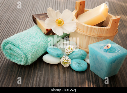 Beauty spa products. Wellness massage treatment products. - Stock Photo