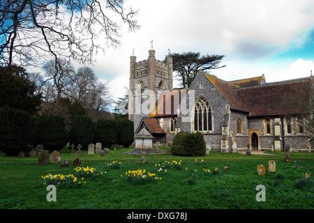St Mary the Virgin Hambleden Parish Church Buckinghamshire UK - Stock Photo