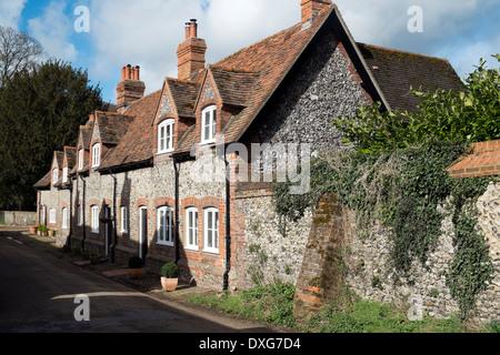 Row of brick and flint terraced cottages Hambleden village Buckinghamshire UK - Stock Photo
