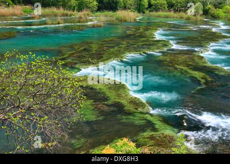 Cascades near Roski slap in National park Krka in Croatia. - Stock Photo