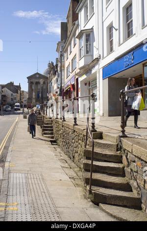 Market Jew Street in Penzance, Cornwall England. - Stock Photo