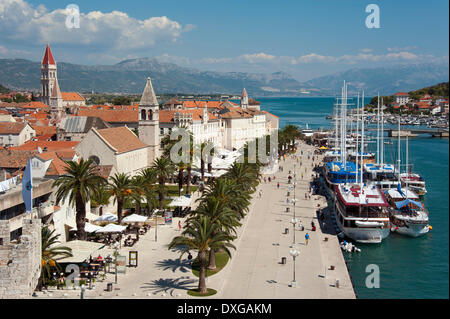 View from Kamerlengo Castle of the harbour with the promenade, historic centre, Trogir, Split-Dalmatia County, Croatia - Stock Photo