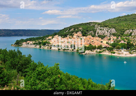 The village of Bauduen at Lac de Sainte-Croix, Verdon Gorge, Gorges du Verdon, Var, Provence-Alpes-Côte d'Azur, - Stock Photo