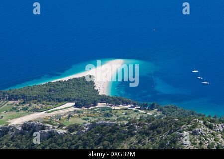 The beach at Zlatni Rat or Golden Horn, Bol, island of Brač, Dalmatia, Croatia - Stock Photo