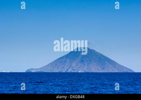 Isola Stromboli with volcano Mt Stromboli, seen from the Tyrrhenian Sea, Isola di Panarea, Aeolian Islands, Italy - Stock Photo