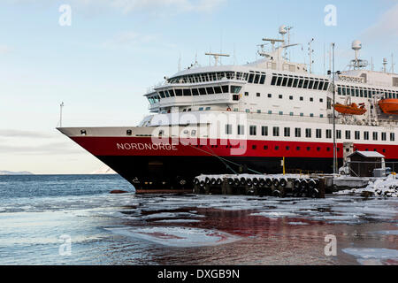 MS Nordnorge, passenger cruise ship in the Barents Sea, in the fjord of Kirkenes, Finnmark, Norway - Stock Photo