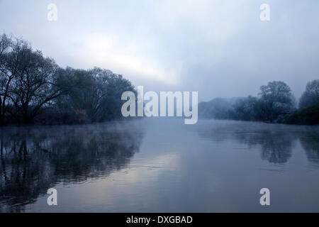 Ruhr valley with the Ruhr river, early morning fog in autumn, Wetter, Ruhr Area, North Rhine-Westphalia, Germany - Stock Photo