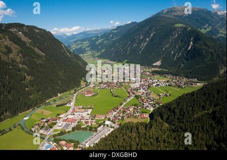 Townscape of Mayrhofen, Penken Mountain, Ahornspitze Mountain, Steinerkogel Mountain, Zill Valley, Tyrol, Austria - Stock Photo