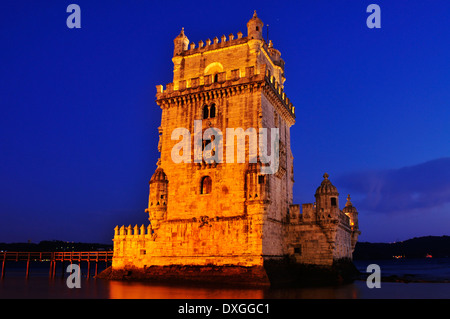 the Belem Tower at night in Lisbon, Portugal - Stock Photo