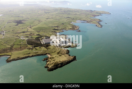 aerial view of Wylfa Nuclear Power Station on Anglesey - Stock Photo