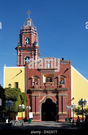 América, Mexico, Puebla state, Tonantzintla village, Santa María church - Stock Photo
