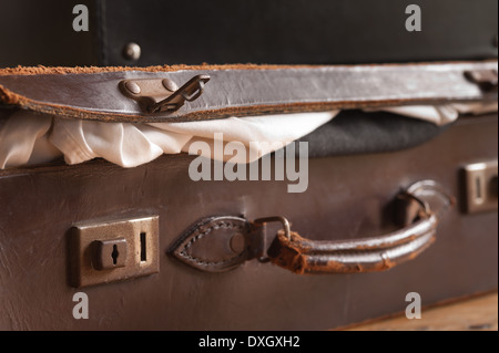 Vintage suitcase showing worn leather handle Stock Photo, Royalty ...