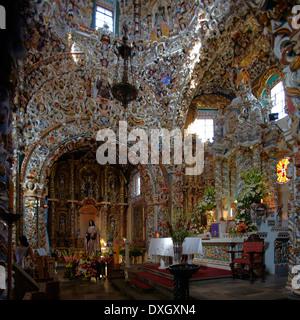 América, Mexico, Puebla state, Tonantzintla village, Santa María church inside - Stock Photo