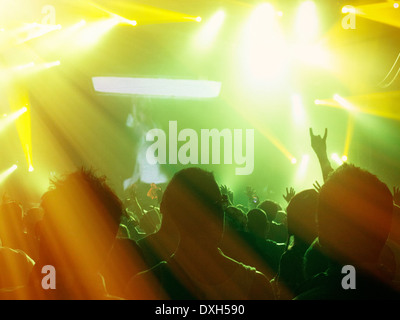 Silhouetted fans facing illuminated stage - Stock Photo