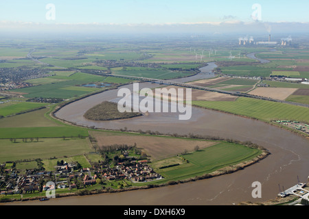 aerial view of Howden Dyke Island near Goole, in the River Ouse, Yorkshire. Also known as Hook Island or Silverpit - Stock Photo