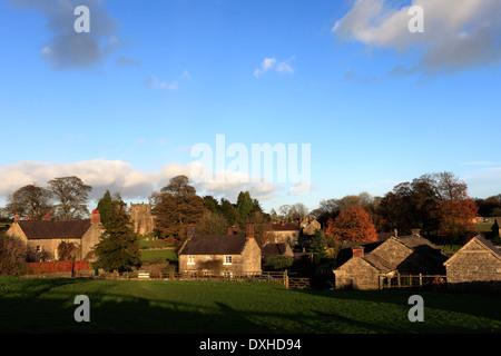 Autumn, village green and pond, Tissington village, Peak District National Park, Derbyshire, England, UK Stock Photo
