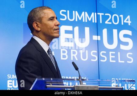 Barack Obama united states US president visits EU portrait headshot serious speak speaking hands - Stock Photo