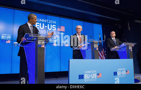 visit by US President Barack Obama to Brussels were, left to right, Barack Obama, President, United States of America. - Stock Photo