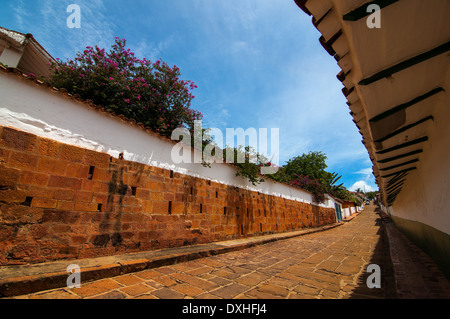 A view of a street in Barichara, Colombia - Stock Photo