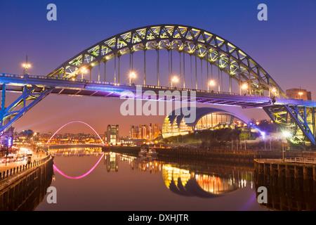Newcastle upon Tyne skyline gateshead Tyne bridge over River Tyne Tyne and Wear Tyneside England UK GB Europe - Stock Photo