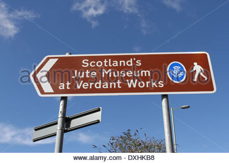 Sign for Verdant Works Jute Mill Museum Dundee Scotland March 2014 - Stock Photo