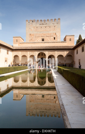 Courtyard of the Myrtles, Comares Palace, Nasrid Palaces, Alhambra Palace, Granada Andalusia Spain Europe - Stock Photo