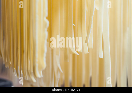 Fresh handmade Italian pasta hanging off a rack before cooking - Stock Photo