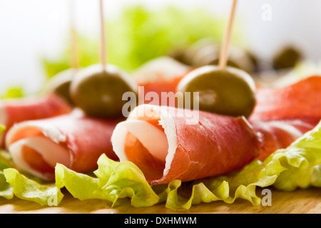 Cured meat. Cold cuts ham. - Stock Photo
