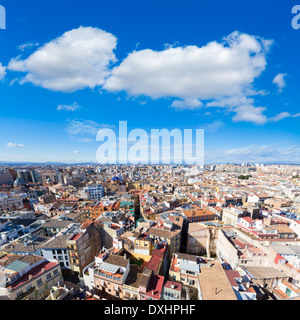 Valencia aerial skyline from el Miguelete tower of Spain - Stock Photo
