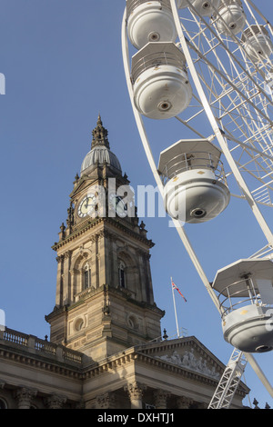 Big wheel in Victoria Square Bolton as part of the Christmas town centre attractions for Christmas 2013. - Stock Photo