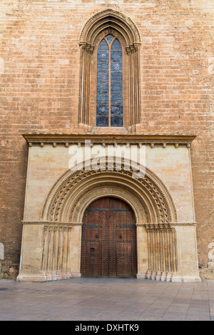 Valencia Romanesque Palau door of Cathedral in Spain - Stock Photo
