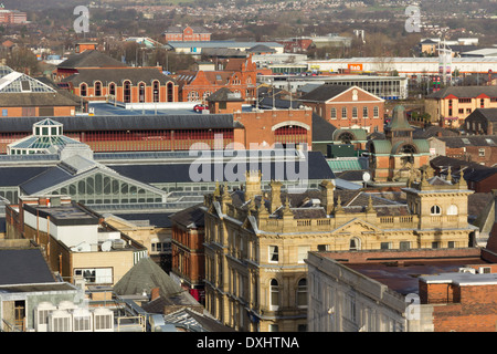Rooftops of Bolton town centre looking north from Victoria square, dominated by the RBS bank building and The Market - Stock Photo