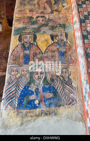 fresco in the interior of the Daniel Korkor church in Tigray, Ethiopia - Stock Photo
