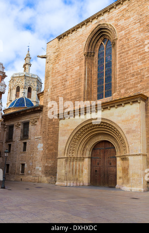 Valencia Romanesque Palau door of Cathedral in Spain with Miguelete - Stock Photo